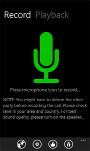 Recording calls on Windows Phone - press microphone icon
