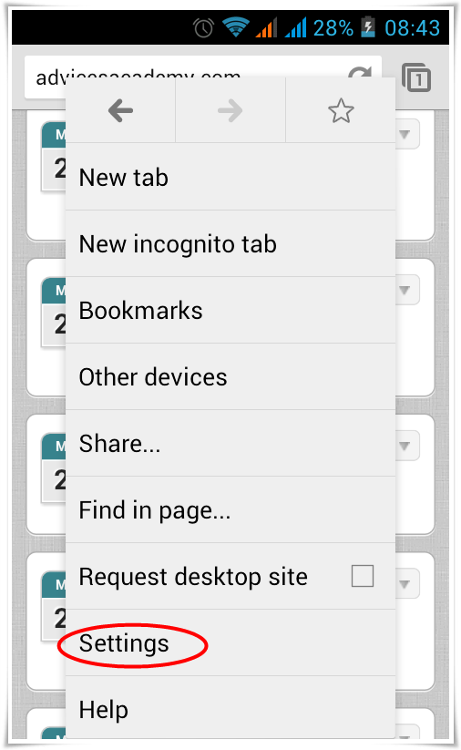 how to delete web search history on android