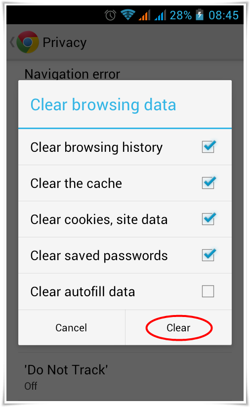 how to erase browser history on android devices browsers