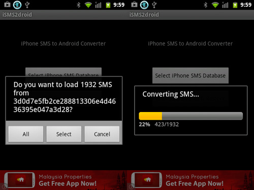 iSMS2droid load