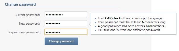 Changing VK Password
