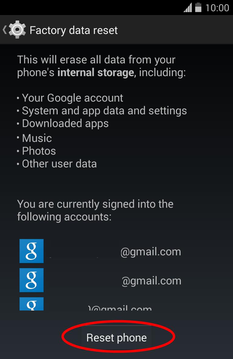 Kitkat Phone Data Reset