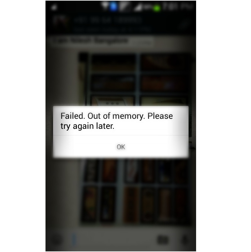 WhatsApp Failed Out of Memory