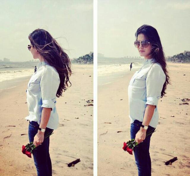 Sunny Leone at Beach